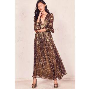 NEW LOVESHACKFANCY Cyrena Dress, Midnight Vine 6US
